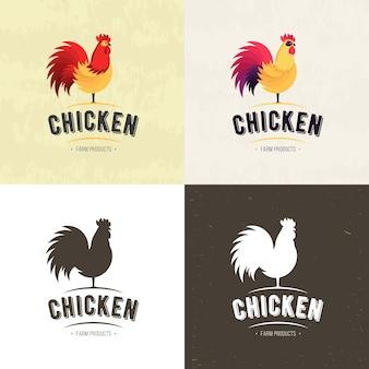 Ensemble de logo de viande de poulet ferme, insignes, bannières, emblème et éléments de conception pour magasin d'alimentation et un restaurant. illustration vectorielle