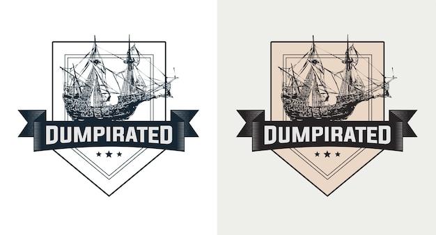 Ensemble de logo vintage de bateau à voile