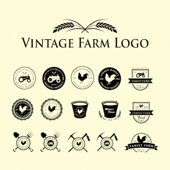 Ensemble De Logo Vintage Farm Vecteur Premium