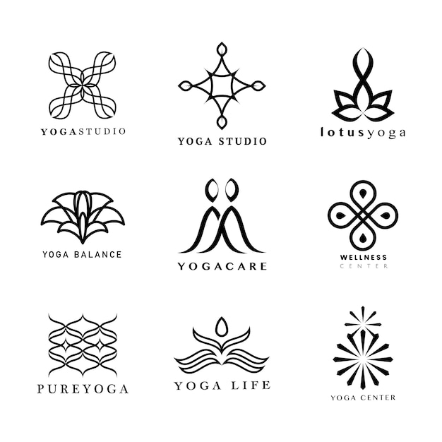 Ensemble de logo de yoga