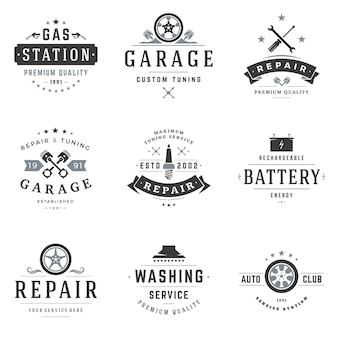 Ensemble de logos d'atelier de réparation automobile.