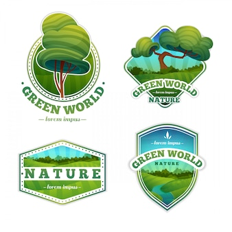 Ensemble de logos, badges avec nature, paysage, arbres. style de bande dessinée.