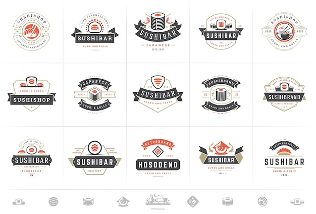 Ensemble de logos et badges de restaurant de sushi