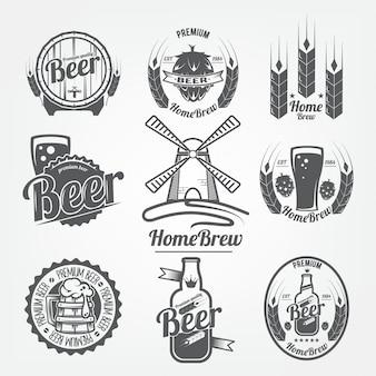 Ensemble de logos de bière. homebrew, un produit naturel au grain de haute qualité
