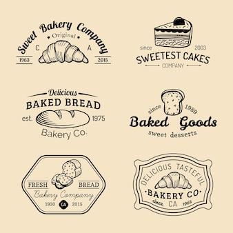 Ensemble de logos de boulangerie vintage. collection d'emblèmes rétro. icônes de pâtisserie hipster. éléments du désert.