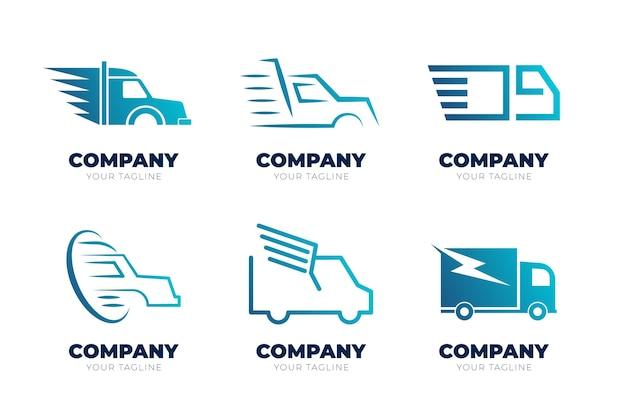 Ensemble de logos de camion de couleur dégradé
