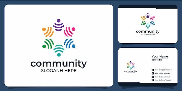 Ensemble de logos et de cartes de visite de groupe social coloré créatif