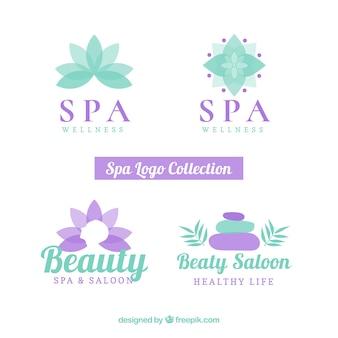 Ensemble de logos de centre de spa dans un style plat