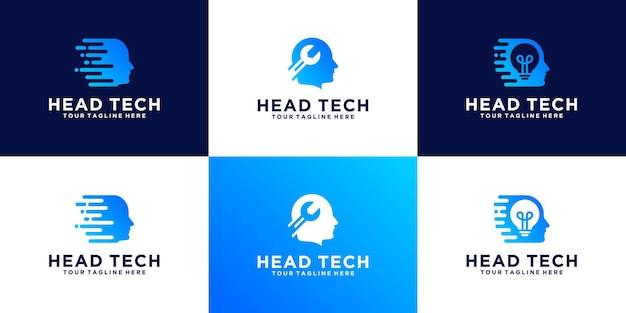 Ensemble de logos chef de la technologie des données