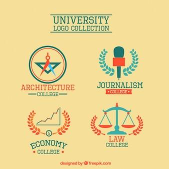Ensemble de logos de collège rétro