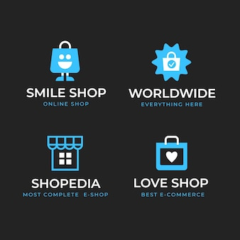Ensemble de logos de commerce électronique design plat