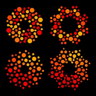 Ensemble de logos de couleur orange et rouge de forme ronde abstraite isolée, collection de logos de soleil stylisé en pointillés