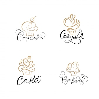 Ensemble de logos de cupcakes linéaires