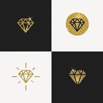 Ensemble de logos de diamants en or scintillant. illustration.