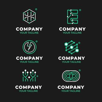 Ensemble de logos électroniques plats