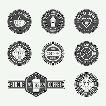 Ensemble de logos, étiquettes et emblèmes de café vintage. illustration vectorielle