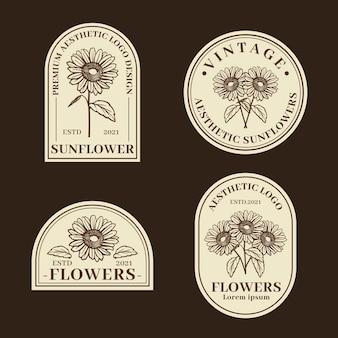 Ensemble de logos et étiquettes de tournesols vintage vector