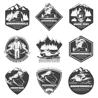 Ensemble de logos extrêmes de sport d'hiver monochrome
