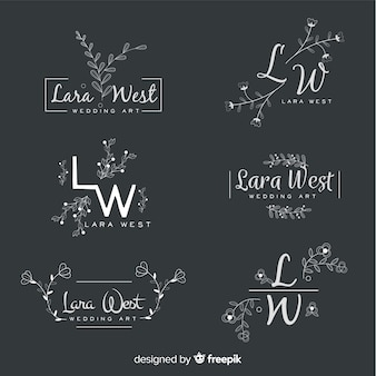 Ensemble de logos de fleuriste de mariage