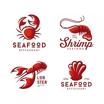 Ensemble de logos de fruits de mer