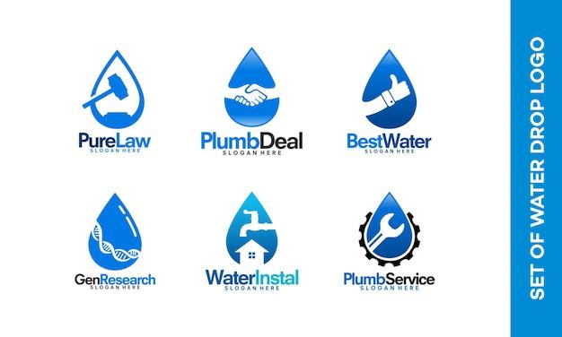 Ensemble de logos de goutte d'eau