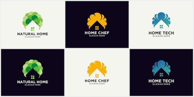 Ensemble de logos immobiliers, collection de logos de maison créative, ensemble de logos de bâtiments abstraits, logos de l'immobilier et de la construction. modèle de logo de maison de vecteur