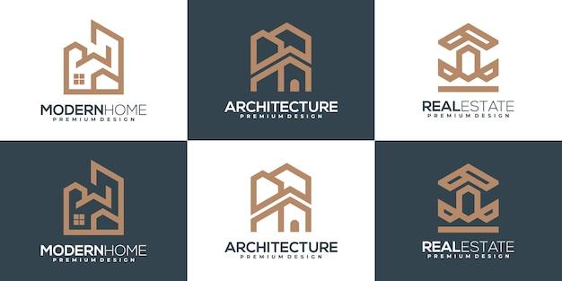 Ensemble de logos immobiliers de luxe