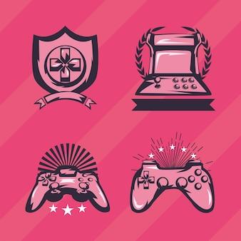 Ensemble de logos de jeux vidéo de style rétro