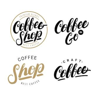 Ensemble de logos de lettrage écrits à la main de café
