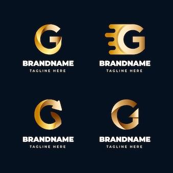 Ensemble de logos de lettre g dégradé
