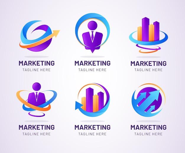 Ensemble de logos marketing de couleur dégradée