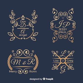 Ensemble de logos de monogramme de mariage