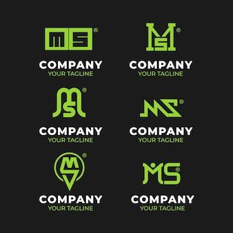 Ensemble De Logos Ms Design Plat Vecteur gratuit