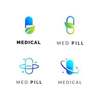 Ensemble de logos de pilules médicales