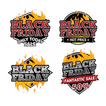 Ensemble de logos rétro en vente le vendredi noir.