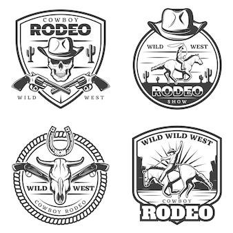 Ensemble de logos de rodéo vintage monochrome