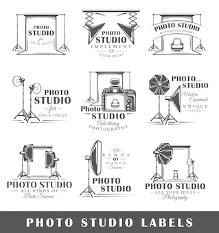 Ensemble de logos de studio photo vintage
