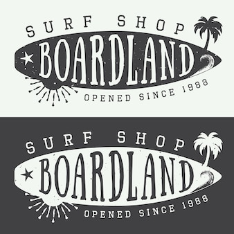Ensemble de logos de surf, d'étiquettes, de badges et d'éléments de style vintage. illustration vectorielle