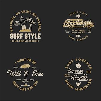 Ensemble de logos de surf