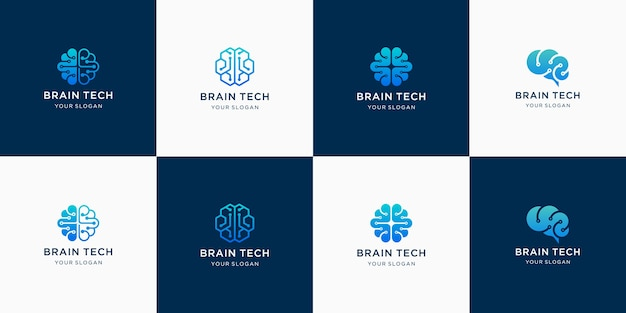 Ensemble de logos de technologie cérébrale pour l'inspiration