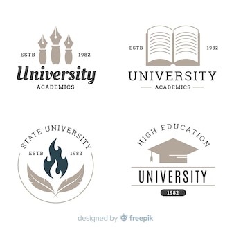 Ensemble de logos universitaires plats