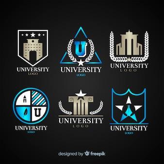 Ensemble de logos universitaires plats