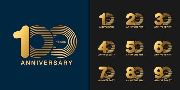 Ensemble de logotype de célébration anniversaire doré.
