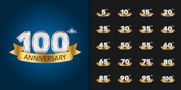 Ensemble de logotype de célébration d'anniversaire d'or et d'argent.