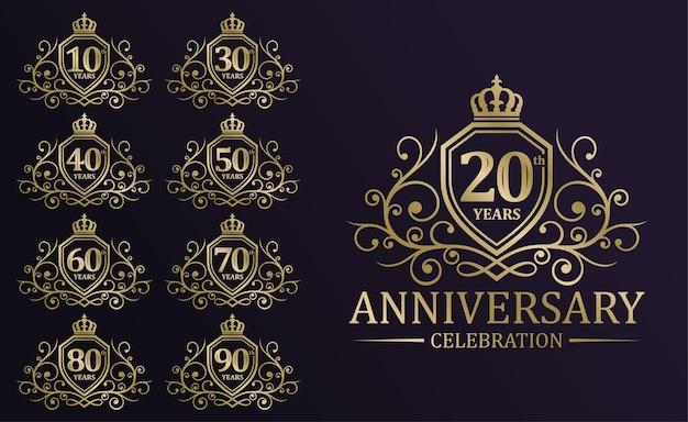 Ensemble de logotype de célébration d'anniversaire d'or