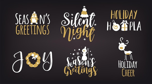 Ensemble de logotype de noël ou insignes joyeux noël et bonne année