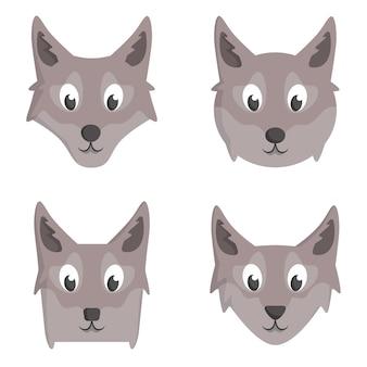Ensemble de loups de dessin animé. différentes formes de têtes d'animaux.