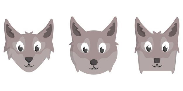 Ensemble de loups de dessin animé. différentes formes de visages d'animaux.