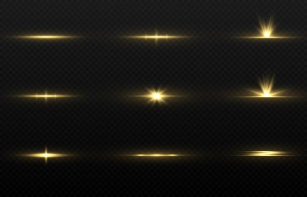 Ensemble de lueur d'or magique.