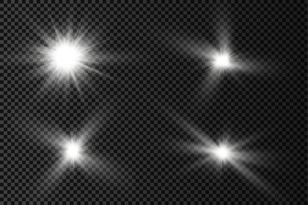 Ensemble de lumière éclatante blanche éclatante étoiles brillantes rayons du soleil effet de lumière flare de soleil